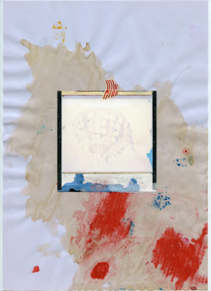 Destroyed Polaroid, undated, Mixed media and coffee on paper, 21 X 29,7 cm - © Vincent Delbrouck