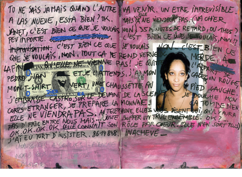 Page For Janet, 2003 - 2004, Mixed media on paper, 29,7 X 42 cm - © Vincent Delbrouck