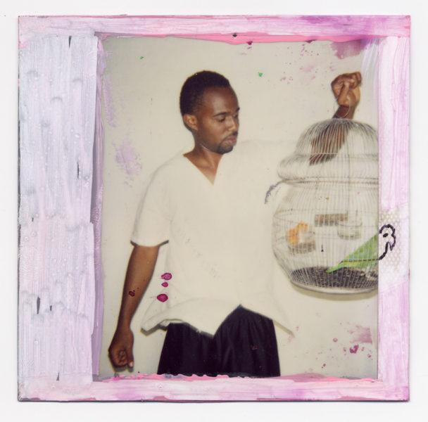 Julio Et Le Perroquet Décapité, 2004, Painted polaroid, 10,2 X 10,2 cm - © Vincent Delbrouck