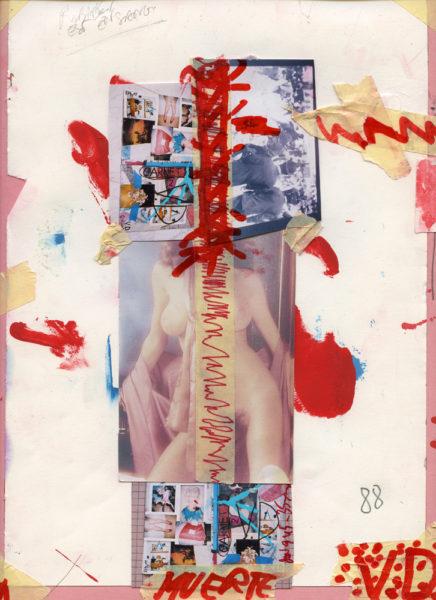 Muerte 88, 2007 - 2016, Mixed media on paper, 24 X 32 cm - © Vincent Delbrouck