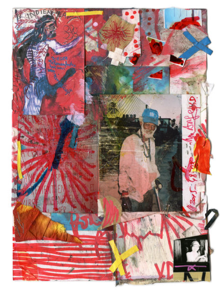 """Art Dictatorship, 1998 - 2016, Mixed media on paper (""""Indian""""painting by Jonathan Meese), 21 X 29,7 cm - © Vincent Delbrouck"""