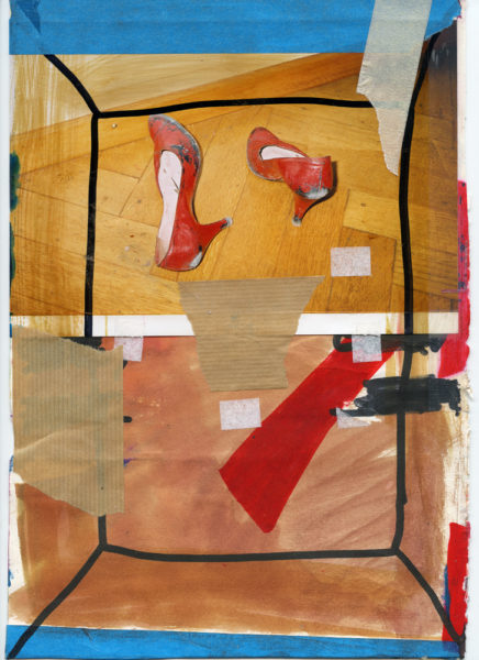 Red Shoes, undated, Mixed media on paper, 21 X 29,7 cm - © Vincent Delbrouck