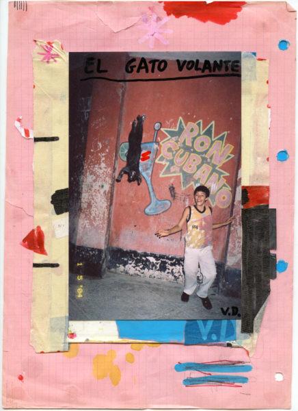 El Gato Volante, 2004 - 2016, Mixed media on paper, 21 X 29,7 cm - © Vincent Delbrouck